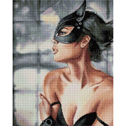 Женщина-кошка, алмазная мозаика на подрамнике 40х50см 28цв полная выкладка PO