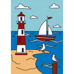 Маяк, набор для раскрашивания цветным песком 16,5х23см Hobbius
