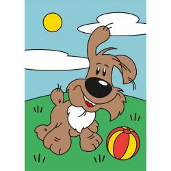 Игривый щенок, набор для раскрашивания цветным песком 16,5х23см Hobbius