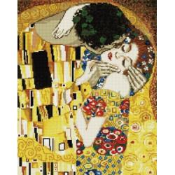 Поцелуй (Густав Климт), алмазная мозаика на подрамнике 40х50см 25цв полная выкладка PO