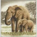 Слоны, набор для вышивания крестиком, 19х20см, 17цветов Panna