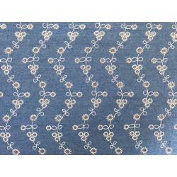 Волна голубой-коричневый, ткань джинс FD 48х50см 60%хлопок 40%полиэстер