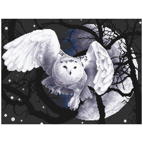 Белая сова, набор для вышивания крестиком 36х27см 7цветов Panna