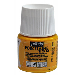 Лимонный, краска глянцевая по фарфору и керамике Porcelaine 150 под обжиг 45мл PEBEO +t!