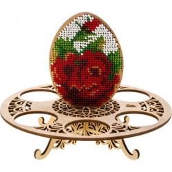 Яйцо на подставке, набор для вышивания бисером на перфорированной основе фанера 12,5х15,5см 8цв ВС