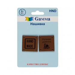 Квадрат коричневый, нашивка (бирка) 2шт кожзам Gamma