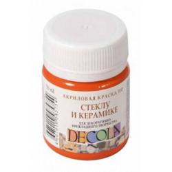 Оранжевая краска по стеклу и керамике акриловая 50мл Decola +t!