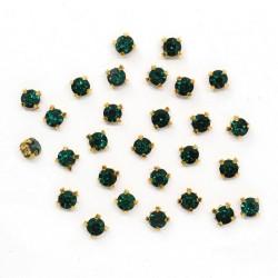 Изумруд круглые, стразы стеклянные в золотых цапах 4мм 29-30шт Астра