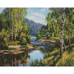 У реки (Прищепа Игорь), алмазная мозаика на подрамнике 40х50см 28цв полная выкладка PO