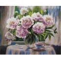 Белые пионы (Воробьёва Ольга), алмазная мозаика на подрамнике 40х50см 36цв полная выкладка PO