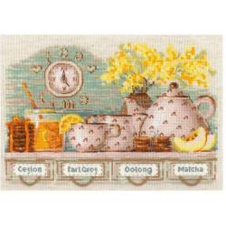 Tea Time, набор для вышивания крестиком 30х21см нитки шерсть Safil 20цветов Риолис