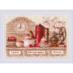CoffeeTime, набор для вышивания крестиком 30х21см нитки шерсть Safil 18цветов Риолис