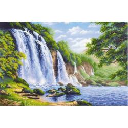Шум водопада, набор для вышивания крестиком 60х40см нитки шерсть Safil 26цветов Риолис