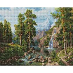 Пейзаж с водопадом (Потапов Виталий), алмазная мозаика на подрамнике 40х50см 31цв полная выкладка PO