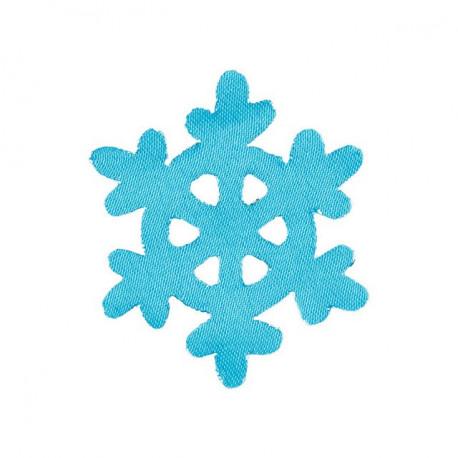 Снежинка малая синяя 5х5см аппликация на клеевой основе