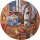 Домовой-покровитель домашних животных, набор для вышивания крестиком 24х24см 30цветов, частичная