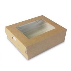 Крафт, коробка горизонтальная с окошком 10х8х3см