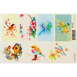 Птицы, водорастворимая бумага с картинками 17х12см