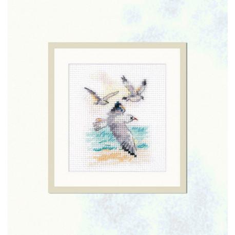 Ветер с моря. Чайки, набор для вышивания крестиком 6х9см 15цветов Алиса