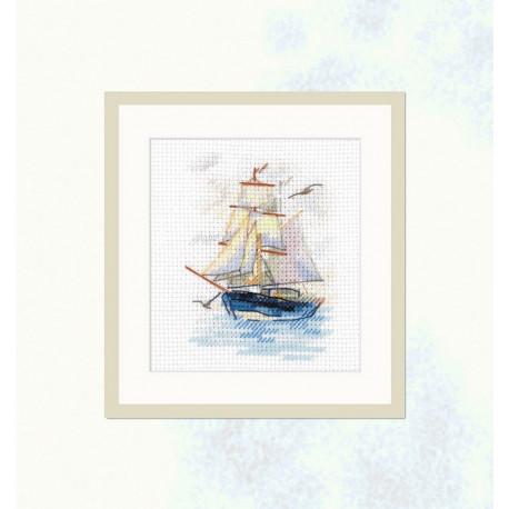 Парусник, набор для вышивания крестиком 6х9см 16цветов Алиса