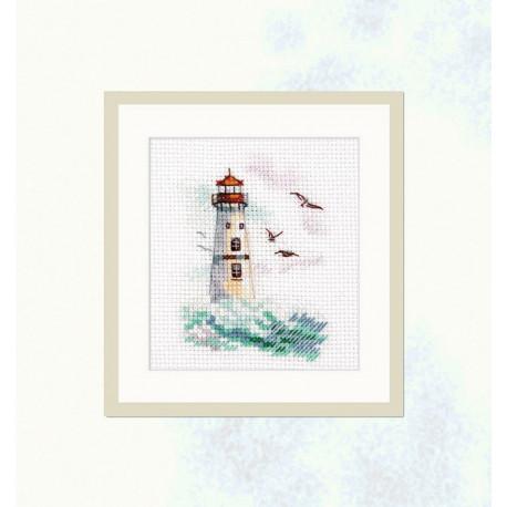 Море волнуется. Белый маяк, набор для вышивания крестиком 6х9см 16цветов Алиса