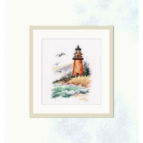 Берег холодного моря. Маяк, набор для вышивания крестиком 6х9см 17цветов Алиса