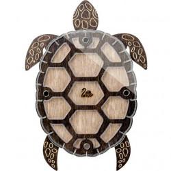 Черепаха, органайзер для бусин и бисера с прозрачной крышкой 11ячеек 19х14см фанера ВС