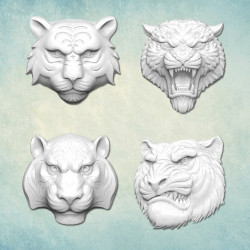 Головы тигров (XS) ср. р-р 3х3х0,8см, набор молдов силиконовых универсальных АП