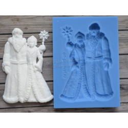 Дед Мороз со Снегурочкой большой 5х7см, молд силиконовый универсальный АП