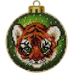 Шар тигренок, набор для вышивания нитками на перфорированной основе фанера 8,5х10см 18цв ВС