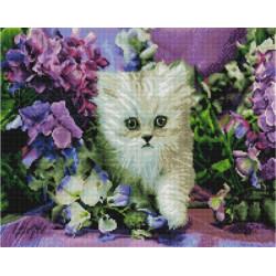 Котенок в ирисах, алмазная мозаика на подрамнике 40х50см 36цв полная выкладка PO