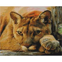 Задумчивая львица, алмазная мозаика на подрамнике 40х50см 36цв полная выкладка PO