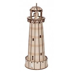 Маяк, пазл 3D (деревянный конструктор) фанера 3мм 11,5x11,5x30,5см 71элемент Rezark
