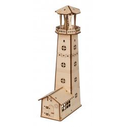 Путеводный маяк, пазл 3D (деревянный конструктор) фанера 3мм 16,2x8,2x32,5см 42элемента Rezark