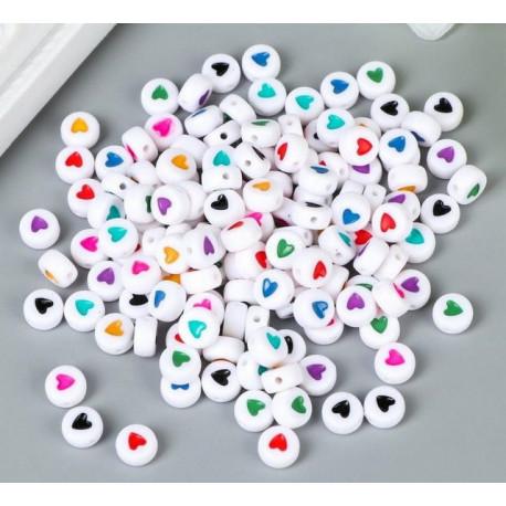Сердечко в круге, d7мм набор бусин ассорти 20шт пластик SL