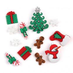 Веселое Рождество, набор пуговиц12шт пластик Dress It Up