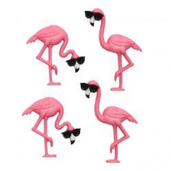Розовые фламинго, набор пуговиц 4шт пластик Dress It Up