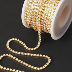 Золотой с голографией, 2,5мм цепь из страз 1м АУ