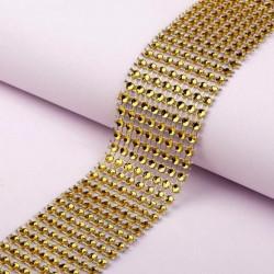 Золото, имитация выпуклых страз 8 круглых страз в ширине 4см 1м АУ