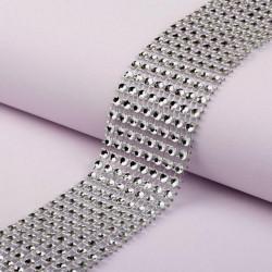 Серебро, имитация выпуклых страз 8 круглых страз в ширине 4см 1м АУ