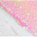 Белая-розовая, ткань для рукоделия из пайеток 33х33(±2см) SL