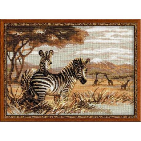 Зебры в саванне, набор для вышивания крестиком, 40х30см, нитки шерсть Safil 17цветов Риолис