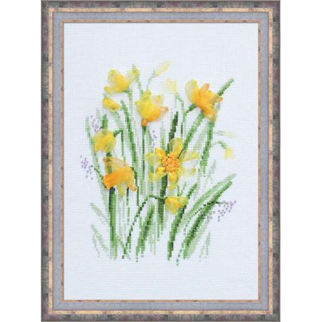 Весенние нарциссы, набор для вышивания, 21х30см, мулине+ленты 6+4цветов Риолис