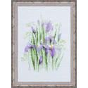 Весенние ирисы, набор для вышивания, 21х30см, мулине+ленты 6+4цветов Риолис