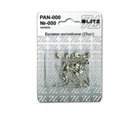 Булавки английские №000 под никель в блистере 25 шт, BLITZ