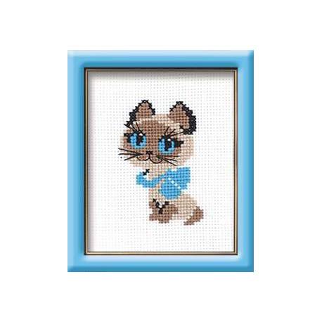 Котёнок, набор для вышивания крестиком, 13х16см, мулине хлопок 4цвета Риолис
