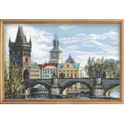 Прага.Карлов мост, набор для вышивания крестиком, 60х40см, мулине хлопок+шерсть 26цветов Риолис