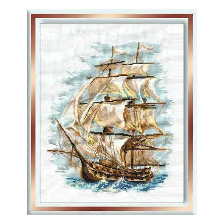 Корабль, набор для вышивания крестиком, 30х40см, нитки шерсть Safil 12цветов Риолис