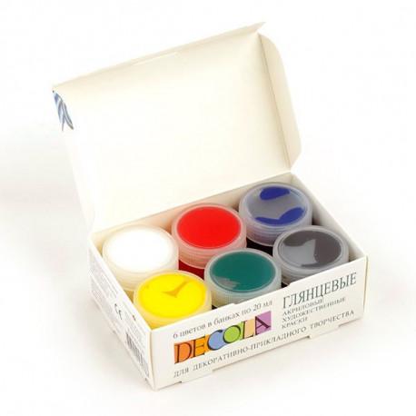 Набор глянцевых акриловых красок 6х20мл Decola +t!