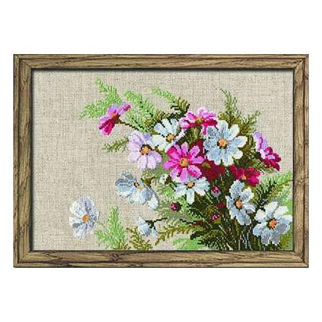 Космеи, набор для вышивания крестиком, 30х21см, нитки шерсть Safil 16цветов Риолис